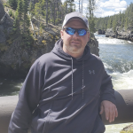 courtesy photo     Jeremy Dickson of Lovell, an avid outdoorsman pictured here during a family trip to Yellowstone, is recovering from an October 2 grizzly bear attack along the North Fork west of Wapiti.