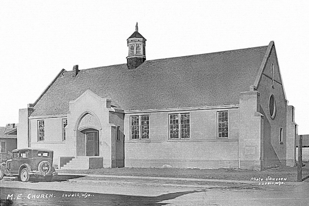 UW archive photo      This historic Hugo Janssen photo, perhaps taken in the 1920s, shows the recently completed Lovell Methodist Episcopal Church at Park and Shoshone. The Lovell United Methodist Church congregation will hold a centennial celebration this Saturday and Sunday.