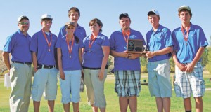 Members of the Lovell High School golf team pose with their medals and trophy following the Class 2A State Golf Tournament in Kemmerer Saturday. Pictured are (l-r) coach Ben Fowler, Chase Tippetts, Alyssa Geiser, CJ Murphey, Jordan Frost, Cody King, Jesse Bassett and Brandon Wolvington. Courtesy photo