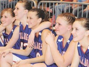 Lovell Lady Bulldog seniors soak up the happy moments before the time expires in the championship game of the 2A Girls State Tournament on Saturday at the Casper Events Center. The championship game win clinched  a second consecutive title for the Lady Bulldogs. Pictured (l-r) are seniors Leanne Winterholler, Erin Robertson, Alyssa Geiser, Miranda Griffis and Jodi Walker.