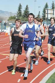 Lovell senior Collin McArthur leads the pack during the 1,600 meters Saturday in Cody. He finished second with a time of 4:38.31, which is just three seconds off the LHS school record.