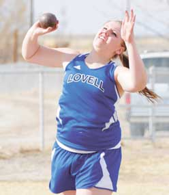 Lovell senior Miranda Griffis heaves the shot during the Riverside Invitational Friday. This week's female athlete of the week at LHS, Griffis won both the shot put and the discus Friday, setting a new personal record in the shot.