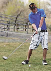Chase Tippetts tees off at Hole No. 4 during the Lovell Invitational Golf Tournament held at Foster Gulch on Saturday. Patti Carpenter photo