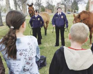 Lovell High School Students Kristin Cerroni and Amanda Allred demonstrated how to saddle horses for a group of elementary school students at a recent FFA event held in Cowley. Had the proposed child farm labor rules gone into effect, the two girls would have not been allowed to work with animals this large.