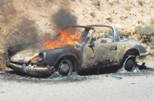 A mint condition Porsche 912 Targa was consumed by fire near Barry's Landing on Thursday around noon during a pleasure ride, causing owners Ev and Susan Diehl of Cody to flee the vehicle.