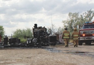 A shop, a truck cab and family pets were destroyed in a fire two miles north of Deaver on Sunday afternoon.