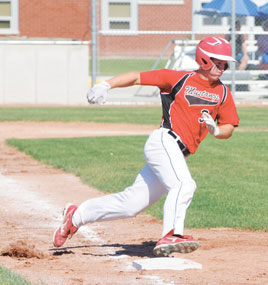 Lovell Mustang Kyle Peterson races around first base on a long rip to the outfield against the Powell Pioneers last Tuesday, July 3. The Mustangs are competing in the Billings Halos tournament this weekend.