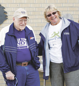 Phil Whaley and Denise Andersen participated in the Walk to End Alzheimer's on Saturday at the senior center in Lovell. The event raised more than $3,000 and raised awareness in the community about the disease.