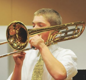 Lovell junior Justin Mickelson performs during the Lovell Instrumentalists Holiday Concert Thursday. Mickelson was selected for the All-State Band for the second time recently.