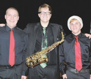 All-State Music selectees from Rocky Mountain High School are (l-r) junior tenor Samuel Bracket, junior alto saxophonist Sam Woodis and junior bass Jacob Loyning.