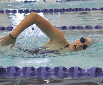 The 400-yard IM is a tough event, but Emily Doughty finished with this strong freestyle leg at the Winter Fiesta in Powell Jan. 13. She placed third in the 13-14-year-old girls age group.