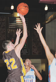 Kirby Winland rises for a jumper against the Wyoming Indian Chiefs Friday evening.