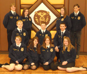Rocky Mountain High School FFA Chapter members are?(back, l-r) Samuel Brown, Jennifer Parker, TaiLyn Miller, Dusten Bond; (middle) Chace Brand, Tyler Lindquist, Charles Kawano; (front) Sydney Tyacke, Lindzy Thomas, Lily Myers  and Alana Senn.