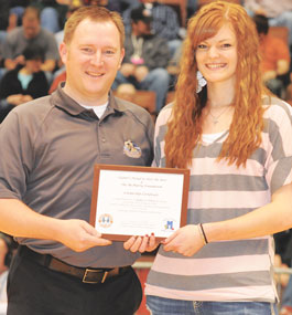 On March 2, Kallee Jo Wilson, a senior at Rocky Mountain High School, was honored at halftime of the 2A State Championship Girls Basketball game in Casper with the 2013 2A Girls Wyoming Student Leaders Scholarship.
