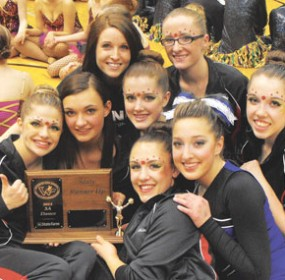 The Lovell High School dance team proved they had what it takes to become this year's 3A State Runner-up at the Wyoming State Spirit Competition March 6 at the Casper Events Center. Members of the dance squad are (back row, l-r) Coach Sara Green, Cheyenne Brightly, (middle) Ashley Steenbakkers, Emilee Bryson, Heather Bartling, Jordan Harper, (front row) Whitney Grant and Chelby Lewis.