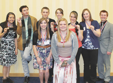 Several of Lovell High School's FCCLA students traveled to Cheyenne this week to compete at the state convention including (front row, l-r) Cassie Colvin and Tessa Watson and (back row, l-r) Madison tippets, Cole Moncur, Dylan May, Jordan Harper, Journee Burton, Brianna Harvey and Jacob Mayes.