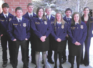 Members of the Rocky Mountain FFA Chapter attended the State FFA convention in Cheyenne earlier this month including (back row, l-r) Dusten Bond, Samuel Brown, Chace Brand, Charles Kawano and advisor Christin Shorma and (front row, l-r)  Tyler Lindquist, TaiLyn Miller, Alana Senn and Jennifer Parker.