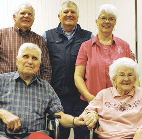 Neil Davies celebrated his 90th birthday at the New Horizon's Care Center. The party was attended by his children (back row, l-r) Ray, Myrl and Janice and his wife Ruth seated to the right of him in the front row.