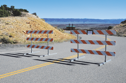 Barricades like this set at the road to Devil's Canyon Overlook were erected Tuesday morning throughout the Bighorn Canyon National Recreation Area following the partial government shutdown in Washington, D.C., that caused most National Park Service employees to be furloughed. David Peck photo