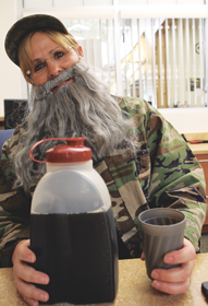 Librarian Lea Sorenson dressed up as Si from the Duck Dynasty show for Hollywood Day at Rocky Mountain High School during homecoming week. Patti Carpenter photo