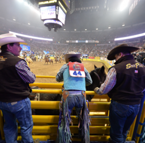 PRCA ProRodeo photos by Greg Westfall JR Vezain of Cowley gets ready to compete in the bareback event for the second year in a row at the National Finals Rodeo held in Las Vegas held Dec. 5-14.
