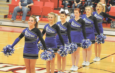 Lovell cheerleaders perform during the recent state basketball tournament. Pictured are (l-r) Chelby Lewis, Shandelle Allred, Ashton Dickson, Camille Ohman, Lauren Stewart and Stephanie Allred. David Peck photo