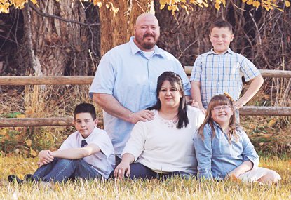Steve Muller and his family (front, l-r) Chris, Jennifer, Macie (above right) are grateful for the support they've received from the community since his recent diagnosis of a very rare form of leukemia.  Courtesy photo