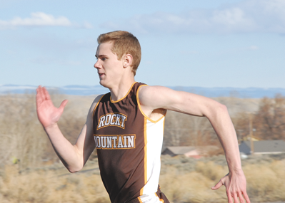 Rocky Mountain junior John Higgins powers to victory in the 400-meter dash Friday afternoon at the Riverside Invitational in Basin. The Grizz will travel to Burlington for an afternoon meet Friday. Karla Pomeroy photo