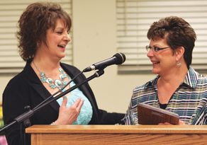 Grad Night Out committee leaders Georgette Lewis and Colleen Tippetts were named Citizens of the Year at the Lovell Area Chamber of Commerce annual awards banquet, held on Friday, April 11. Patti Carpenter photo