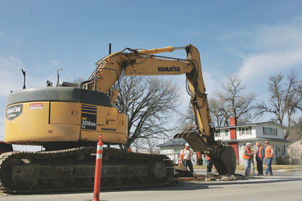 The Main Street reconstruction and water and sewer project started on Monday, with work commencing at the west end of Main Street to remove the median strip in preparation for replacing the irrigation water drain that crosses Main at Great Western Avenue. Patti Carpenter