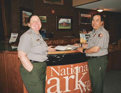 Christy Fleming, chief interpretive ranger for Bighorn Canyon NRA, and Kevin Tillman, acting superintendent, led a presentation for National Park Week at a special event held on April 21 at the visitors center in Lovell. Bob Rodriguez photo