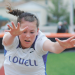 LHS junior Chayli McArthur reaches for distance during the long jump competition at State Track in Casper May 23. McArthur won the event, sailing 16-4¼. David Peck photo