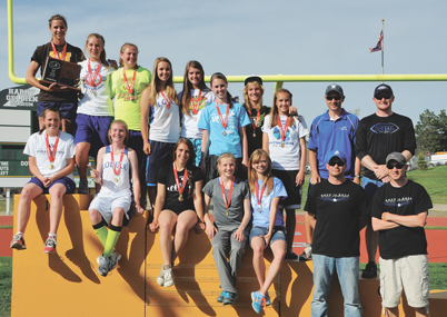 2A Girls State Track & Field Champs Members of the 2A State Championship Lovell Lady Bulldogs track and field team are (front row, l-r) Chayli Mcarthur, Trysa Flood, Whitney Grant, Shelby Wardell, Caitlyn Lundberg, Coach Daniel Robertson, Head Coach Josh Sanders, (back row) Kim Shumway, Savanna Savage, Charri McArthur, Emily Snell, Jazmyn See, Madison Harper, Ameesha Anderson, Jaclyn Caldwell, Coach Caleb Sanders and Coach Bob Weber.
