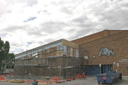 Several construction projects are under way at Lovell High School including a new addition to the gymnasium that will house a weight room. Patti Carpenter photo