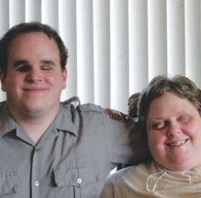 Patrick and Monica Moen, a married couple living in Lovell, have found that their disabilities are not an obstacle to their happiness. Patti Carpenter photo