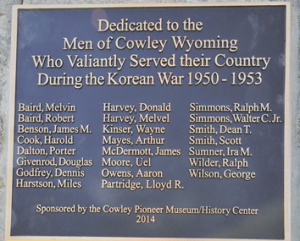 The bronze plaque displays the names of 23 Korean War veterans from Cowley.