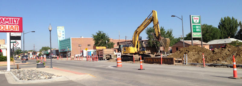 Crews began working at the intersection of Main and Oregon.