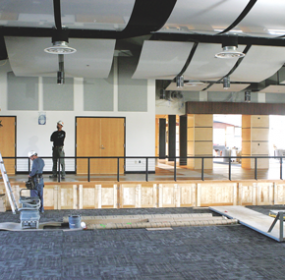 Construction workers put the finishing touches on the new multi-purpose room at Lovell High School this week. The project is expected to be complete ahead of schedule, which will be in a few weeks. Patti Carpenter photo