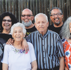 Inez and Milt Ontiveroz of Lovell (center) recently celebrated two milestones with family members. Pictured are their children, from left, Victoria Welan of Phoenix, Ariz.; Anna Fink of Lovell; Mike and Milton Ontiveroz, both of Laramie; and Cec Moats of Cheyenne. Courtesy photo