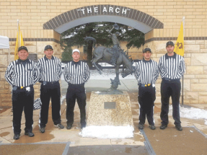 Refereeing the Guernsey-Sunrise vs. Dubois state championship football game Nov. 14 in Laramie were (l-r) local referees Bruce Morrison, Chris Edwards, B.J. Kidgell, Greg Rael and Kevin Jones.