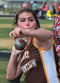 Rocky Mountain sophomore Mikayla McWhirter-Kitchens fires the shot during the Riverside Invitational earlier this year. The Grizzlies will compete at the 2A West Regional track and field meet in Lander this weekend. David Peck photo