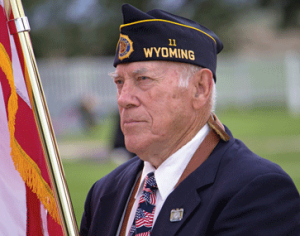 World War II veteran Frank Wilkerson participates in Monday's Memorial Day service in Cowley. Ana Baird photo