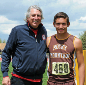 "Cutli Rocky Mountain best-of-the-best and Class 2A high jump champion Jonathan Allred poses with the legendary Dick Fosbury, who per.fected the modern ""Fosbury Flop"" method of high-jumping, prior to the best-of-the-best awards ceremony Saturday in Casper. David Peck photo"