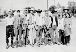 Original members of Bill Powell's Mustang Band, called the Rose City Philharmonica in its first year, 1970, included (l-r) Mike Graham. Dusty Beal, Bruce Morrison, John Powell, Thad Stevens, Todd Wilder, Jack Nebel, Linnea Engelking Jerry Doerr and Ginger Despain. File photo