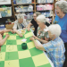 North Big Horn Senior Center quilters (l-r) Caroline Boltz, Verna Hawkins, Erma Palan, Joan Swisher, Judy Quarles and Eva Wagner enjoy a visit while tying a quilt at the center. Patti Carpenter photo