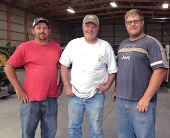 "Visiting farmhands Johannes Cornelius Human ""JC"" (far right) and Petrus Cornelius Oberholzer ""PC"" (far left) of South Africa are working for Byron rancher Brent Ragath (middle) on a special visa through a government program. Pam Hopkinson photo"
