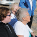 "North Big Horn Hospital employee Emily Hart (left) and Madge Hampton watch the ""garden talk"" during the Lovell Community Garden kickoff event Oct. 17 at the site of the plot near the North Big Horn Senior Citizens Center and Rose City West. David Peck photo"