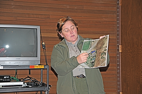 Bighorn Canyon Chief of Interpretation Christy Fleming points to a Google Earth map of a planned pathway from the visitor center to the Pryor Mountain Wild Mustang Center during Thursday's walking path meeting at the center. David Peck photo