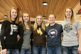 Lovell High School volleyball team members receiving all-conference and/or all-state honors are (l-r) Mykelle Nichols, Madison Harper, Karlie Keller, Charri McArthur and Savanna Savage. Patti Carpenter photo