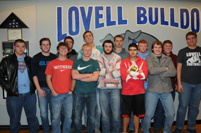 Lovell Bulldogs football players receiving post-season honors following Lovell's 8-2 season are (l-r) Jaret Collins, Beau Green, Riley Abraham, Jacob Winterholler, Tyler Teter, Nic Haskell, Kenneth Powell, Kaleb Mayes, Konner Davis, Brandon Teter, Merrill Beck, Kade Gifford and Trace Murphy. David Peck photo